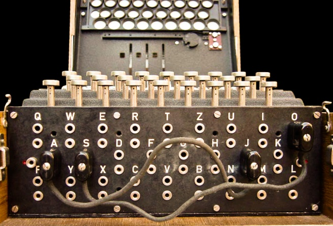 The plugboard of an Enigma machine, showing two pairs of letters swapped: S↔O and J↔A.