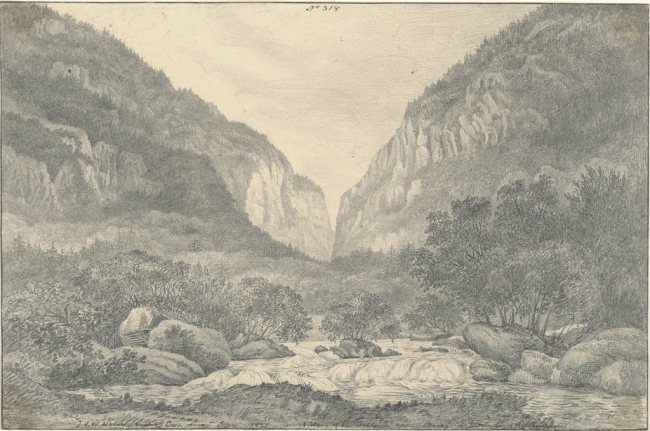 Sir John Frederick William Herschel (British, 1792-1871) 'Valley of the Saltina near Brieg at Entrance of the Simplon' 1821