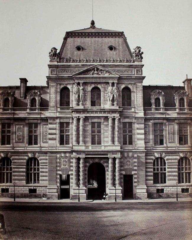 Edouard Baldus. 'Pavillon de la Bibliotheque, Rue de Rivoli, Paris' c. 1855