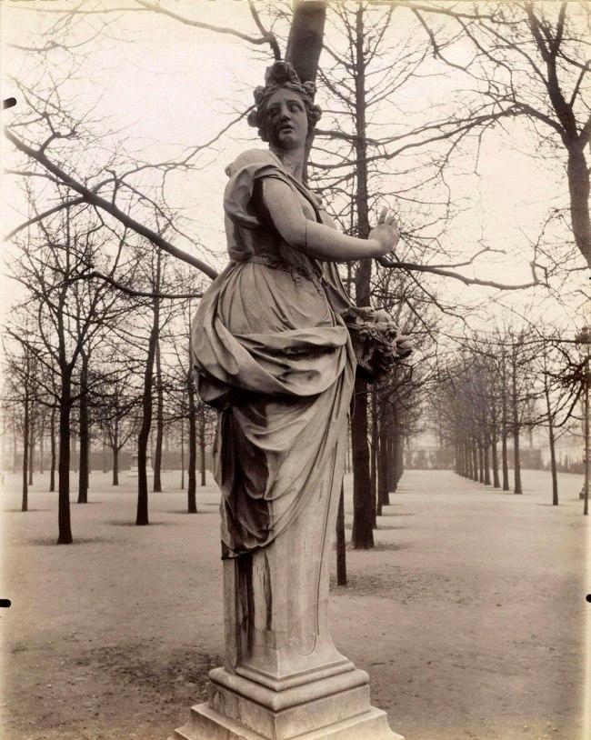 "Eugène Atget. ""'Spring', by the sculptor François Barois, jardin des Tuileries, 1st arrondissement"" 1907"