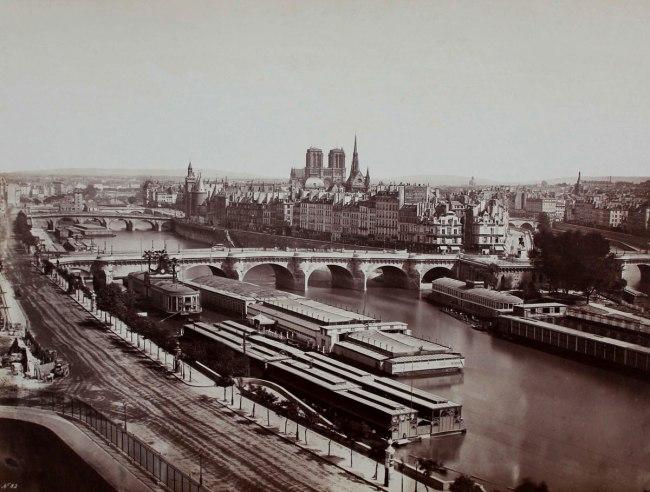 Edouard Baldus. 'Vue generale de Paris pont neuf' c. 1855