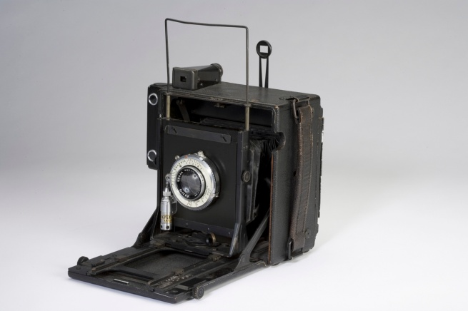 "Manufactured by Graflex, active 1912-1973. 'Anniversary Speed Graphic (4 x 5), ""Scott S. Wigle camera"" (First American-made D-Day picture)' c. 1940"