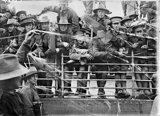 Josiah Barnes (Australian, 1858-1921) 'Embarkation of HMAT Ajana, Melbourne' July 8, 1916