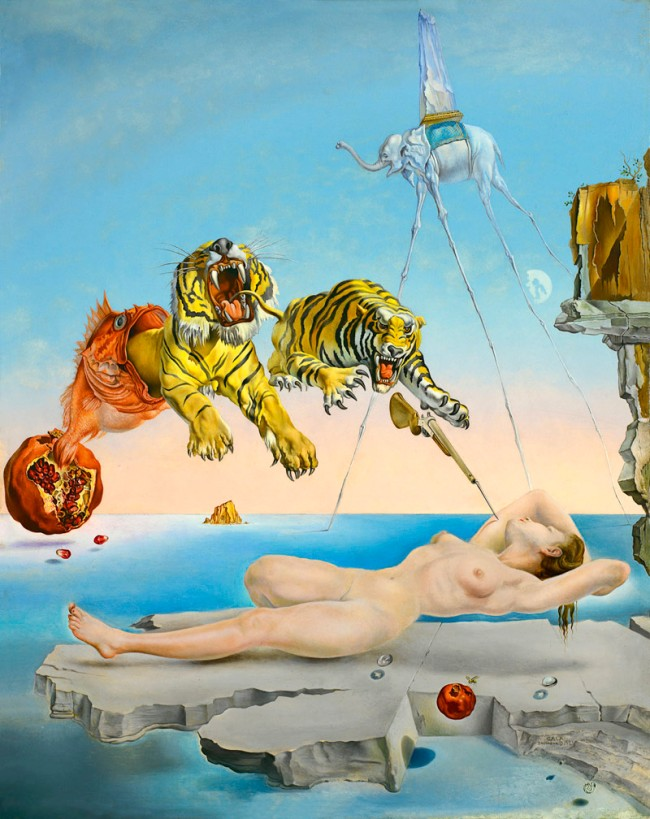 Salvador Dalí. 'Dream caused by the Flight of a Bee around a Pomegranate a Second before Awakening' 1944