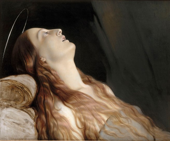 Paul Hippolyte Delaroche. 'Louise Vernet, the artist's wife, on her Deathbed' 1845-46