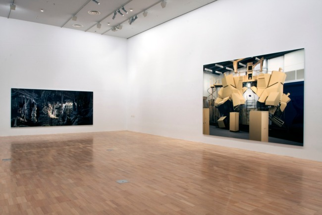 Installation view of 'Thomas Demand' at NGVI showing, at left, 'Grotte / Grotto' 2006 and, at right, 'Space Simulator' 2003