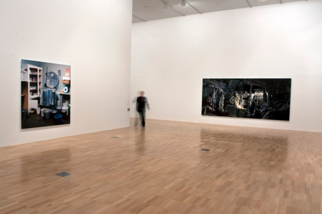 Installation view of 'Thomas Demand' at NGVI showing, at right, 'Grotte / Grotto' 2006