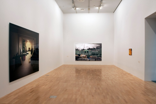 Installation view of 'Thomas Demand' at NGVI showing, at left, 'Vault' 2012 and, at centre, 'Kontrollraum / Control Room' 2011