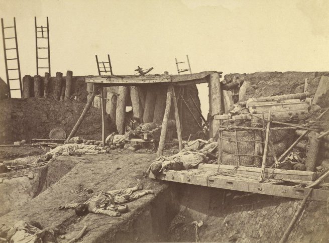 Felice Beato. 'Angle of North Taku Fort at which the French entered' August 21-22, 1860