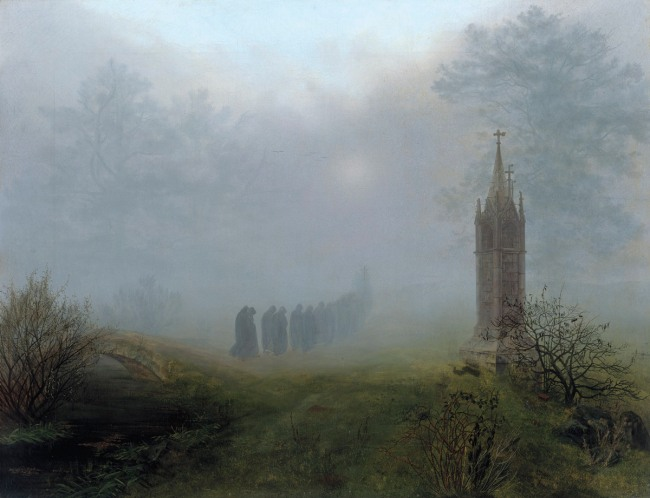 Ernst Ferdinand Oehme. 'Procession in the Fog' 1828