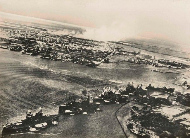 Unknown photographer, Japanese. 'War in Hawaiian Water. Japanese Torpedoes Attack Battleship Row, Pearl Harbor' December 7, 1941