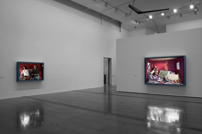 Installation view of 'Jeff Wall Photographs' at NGV Australia showing, at right, 'The Destroyed Room' 1978