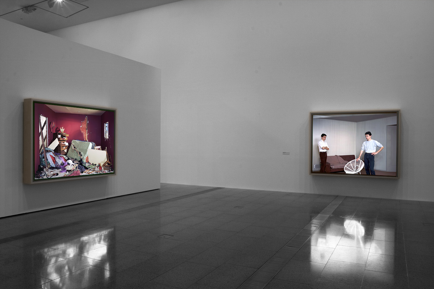 Installation view of jeff wall photographs at ngv australia showing at left