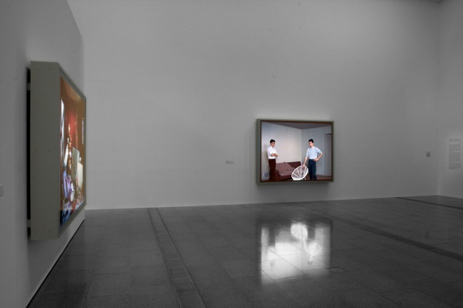 Installation view of 'Jeff Wall Photographs' at NGV Australia showing, at right, 'Double Self-Portrait' 1979