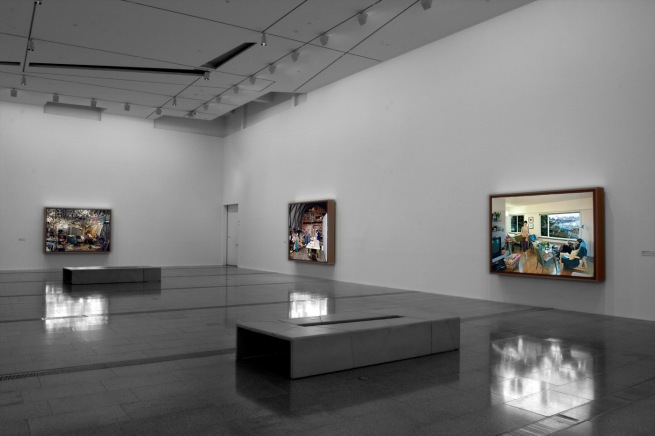 Installation view of 'Jeff Wall Photographs' at NGV Australia showing, at right, 'A view from an apartment' 2004-05