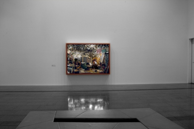 Installation view of 'Jeff Wall Photographs' at NGV Australia showing 'After 'Invisible Man' by Ralph Ellison, the Prologue' 1999-2000
