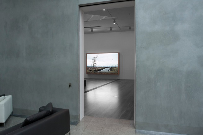 Installation view of 'Jeff Wall Photographs' at NGV Australia showing 'A sudden gust of wind (after Hokusai)' 1993