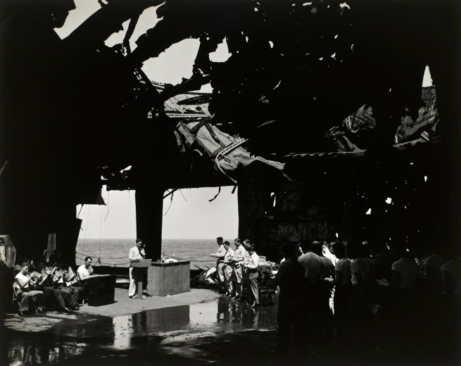 R. Woodward, USNR, American (birth date unknown) 'Religious services under the blasted flight deck of the USS Franklin' March 1945