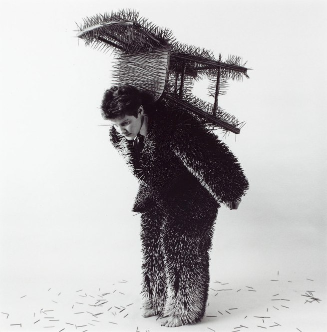 Ann Hamilton. 'body object series #13, toothpick suit/chair' 1984