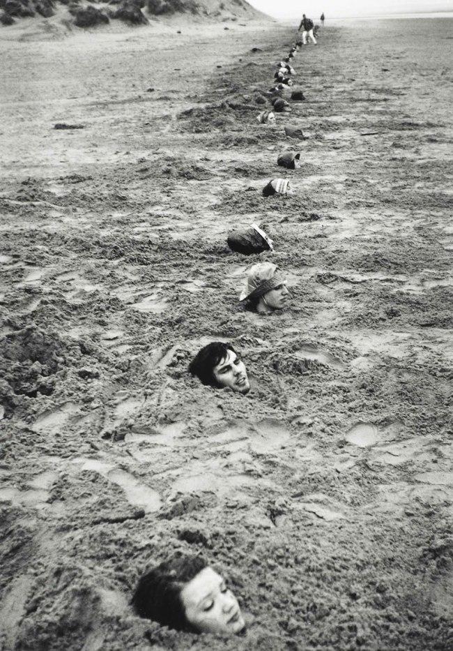 Keith Arnatt. 'Liverpool Beach Burial' 1968