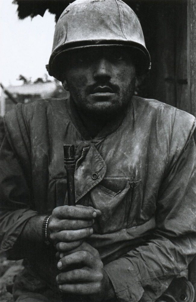 Don McCullin. 'Shell-shocked US soldier awaiting transportation away from the front line' Hue, Vietnam, 1968