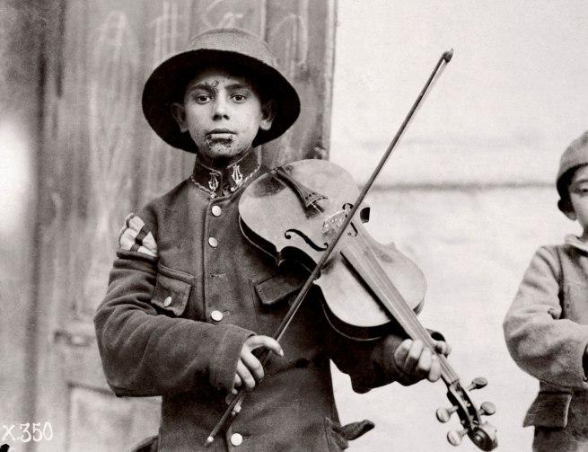 Lewis Hine. 'Belgrade. Christmas Fiddles' 1918