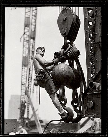 Lewis Hine. 'Man on hoisting ball, Empire State building' 1931