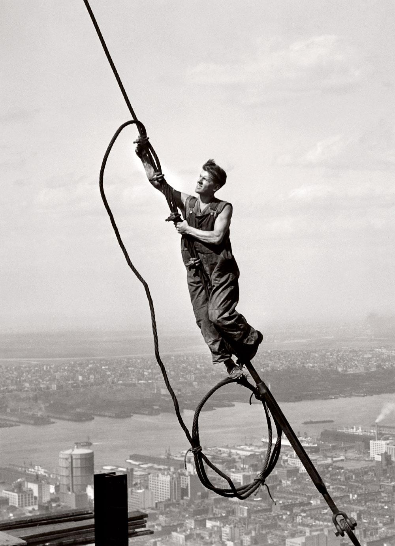 Steelworker standing on beam | Art Blart