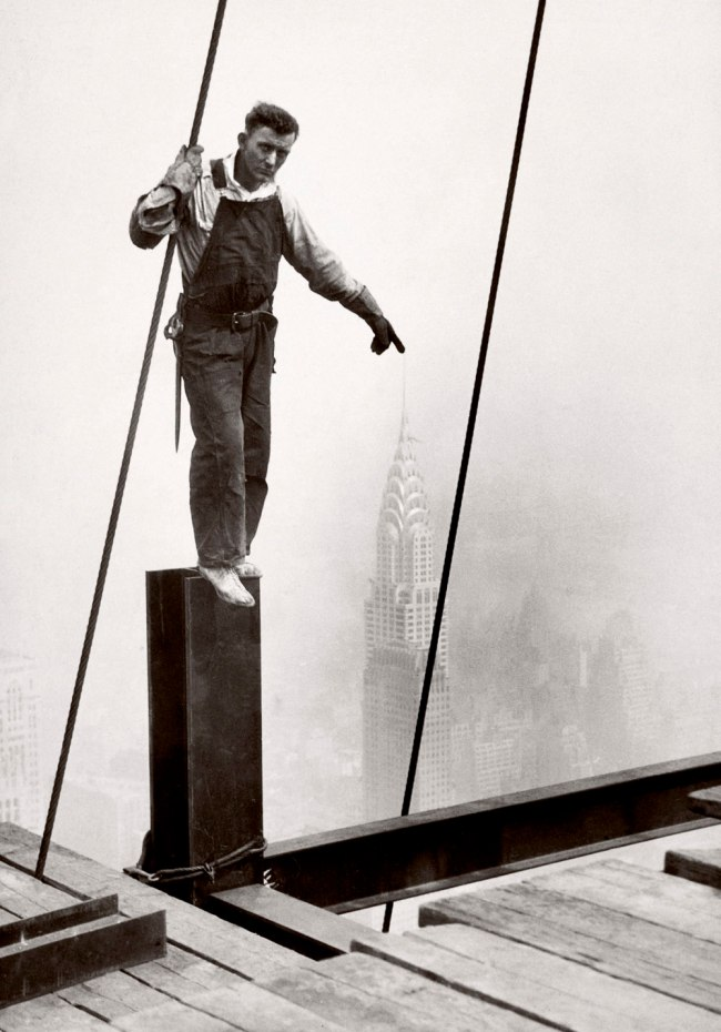 Lewis Hine. 'Steelworker standing on beam' 1931