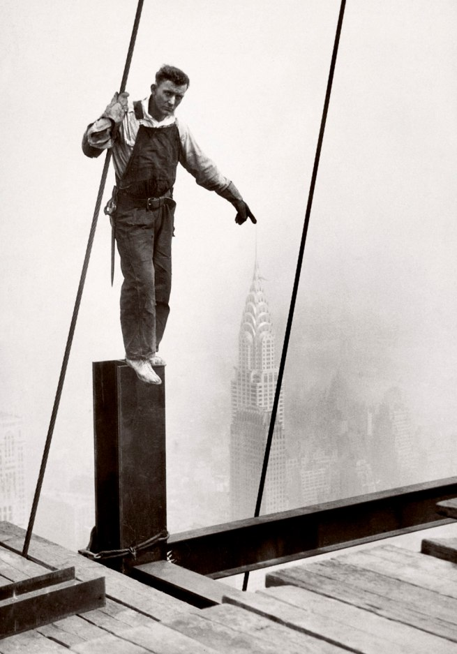 Lewis Hine. 'Steelworker standing on beam' 1931