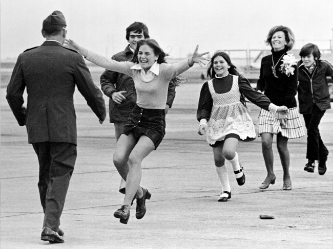Sal Velder. 'Released prisoner of war Lt. Col. Robert L. Stirm is greeted by his family at Travis Air Force Base in Fairfield, California on March 17, 1973, as he returns home from the Vietnam War' 1973