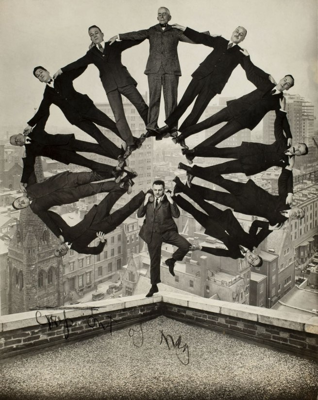 Unidentified American artist. 'Man on Rooftop with Eleven Men in Formation on His Shoulders' c. 1930