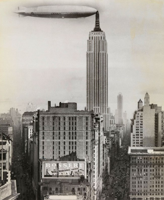 Unidentified American artist. 'Dirigible Docked on Empire State Building, New York' 1930