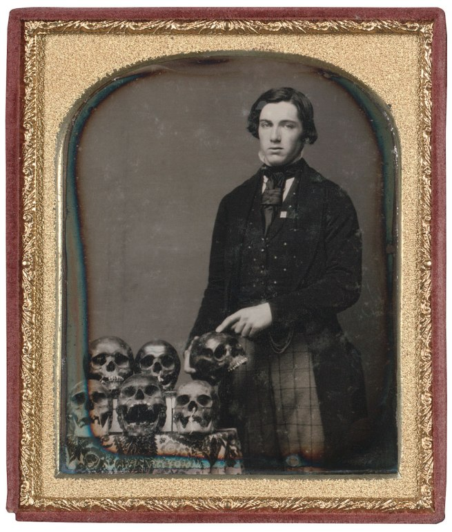 Unknown maker, American. 'Man with Skulls' c. 1850