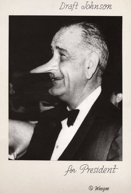 Weegee (Arthur Fellig). 'American, 1899-1968 Draft Johnson for President' c. 1968