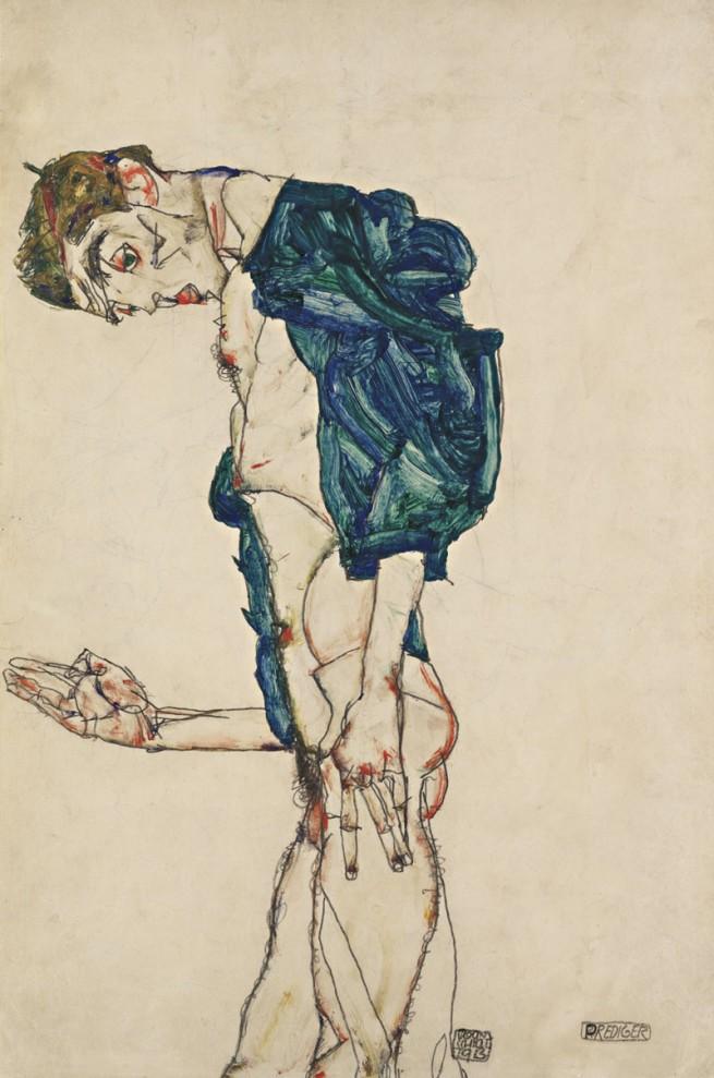 "Egon Schiele. '""Prediger"" (Selbstakt mit blaugrünem Hemd) [""Preacher"" (Nude with teal shirt)]' 1913"