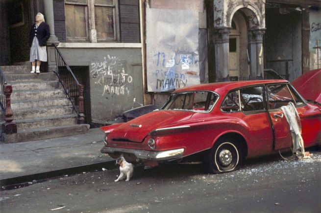 Helen Levitt. 'Cat next to red car, New York' 1973