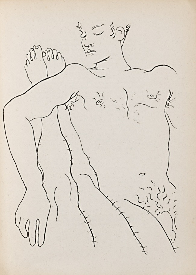 Jean Cocteau. 'Male Couple Illustration for Jean Genet's 'Querelle de Brest'' 1947