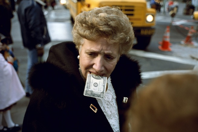 Jeff Mermelstein. 'Unitled ($10 bill in mouth) New York City' 1992