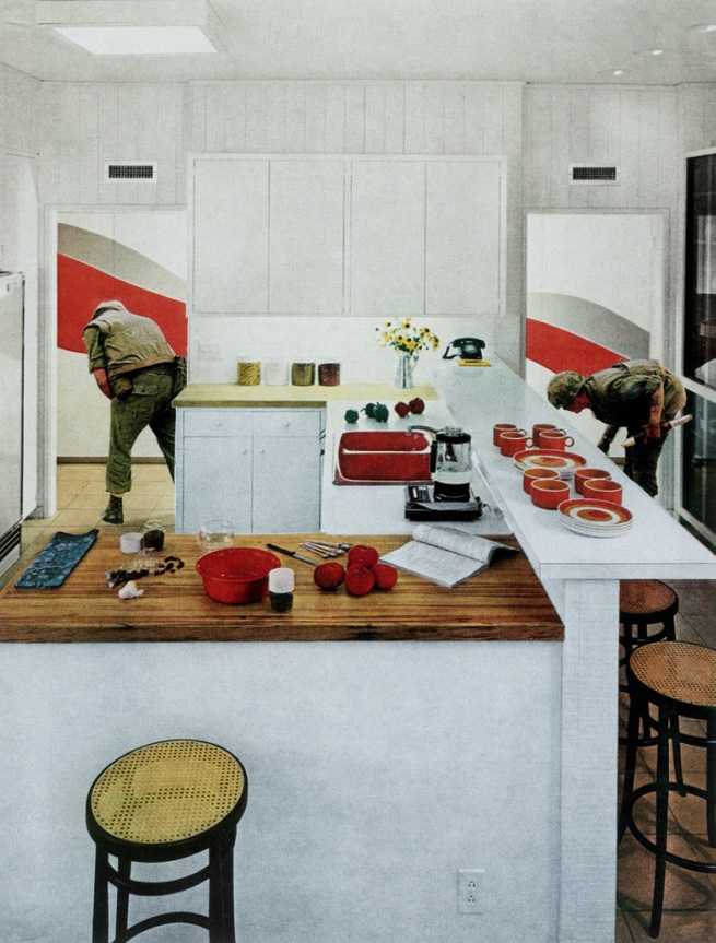 "Martha Rosler. 'Red Stripe Kitchen', from the series "" House Beautiful: Bringing the War Home"" 1967-72"