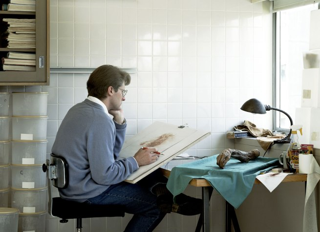 Jeff Wall Canadian 1946- 'Adrian Walker, artist, drawing from a specimen in a laboratory in the Dept. of Anatomy at the University of British Columbia, Vancouver' 1992
