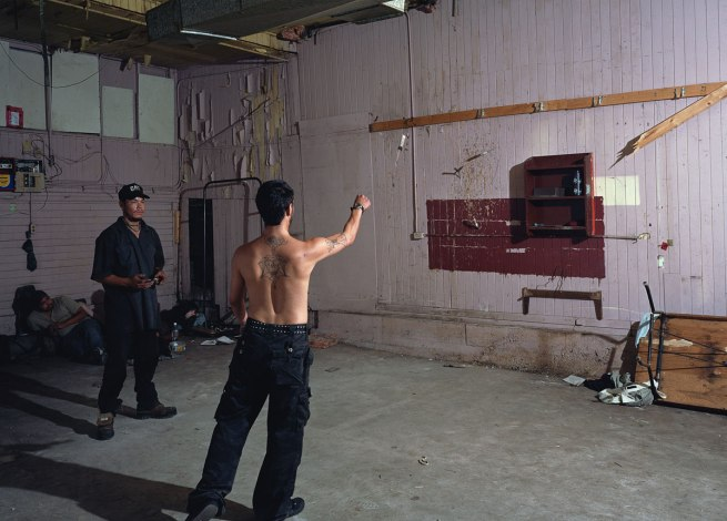Jeff Wall Canadian 1946- 'Knife throw' 2008