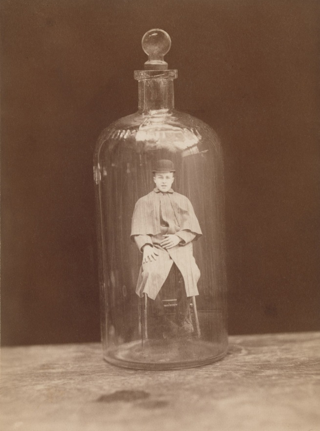 J.C. Higgins and Son. 'Man in bottle' c. 1888