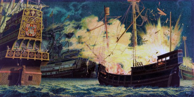 Jean-Leon Huens. 'Sir Frances Drake, Unmanned British Ships with Flammables Explode Among Spanish Ships' Nd