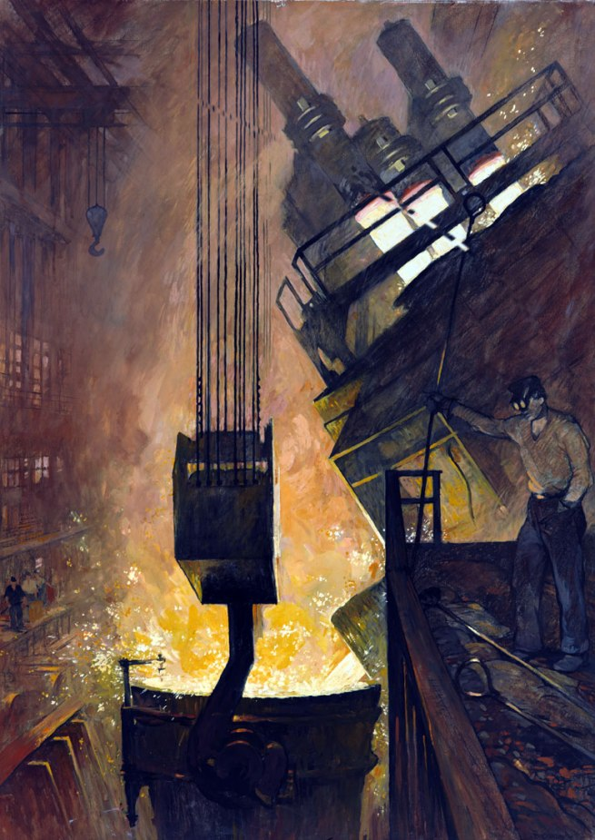 Thorton Oakley. 'Liquid Steel Pours From an Electric Furnace' 1940s