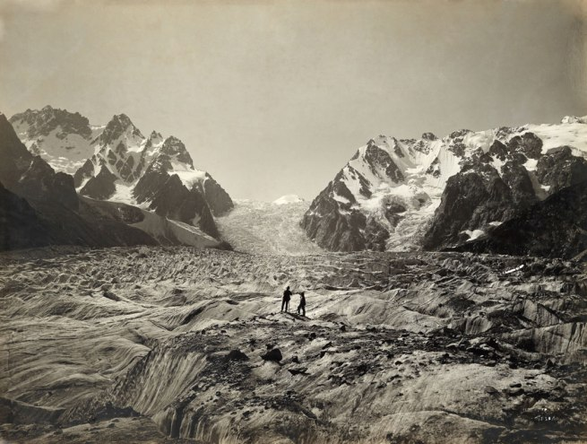 Vittorio Sella. 'A Cascade of Weathered Ice Spills From the 14 Square Mile' Glacier Karagom Glacier, Caucasus Mountains, Russia 1890