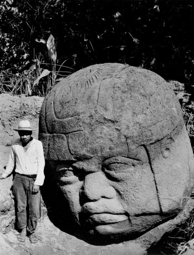 Richard Hewitt Stewart. 'Colossal Olmec Head' La Venta, Mexico, 1940
