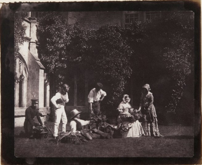 William Henry Fox Talbot, British, 1800 - 1877.  'Group of Persons Selling Fruit and Flowers' 1845