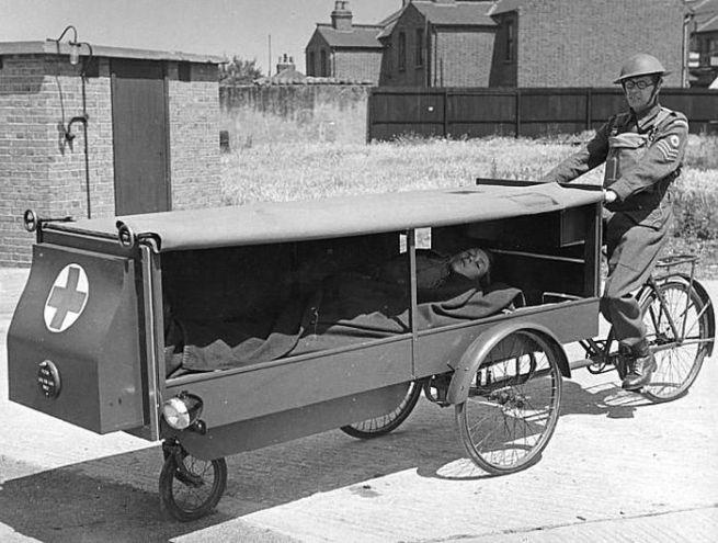 English tricycle ambulance, c. 1940