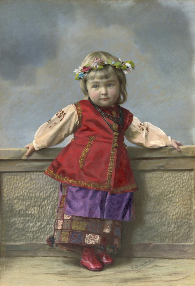 Elena Mrozovskaya. 'Portrait of girl in Little Russia costume. Saint Petersburg' 1900s